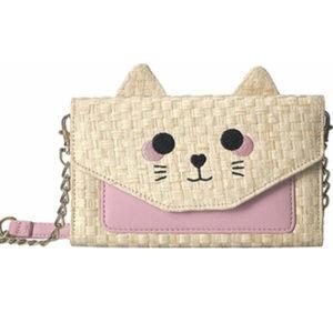 Betsey Johnson Straw Kitty Cat Crossbody